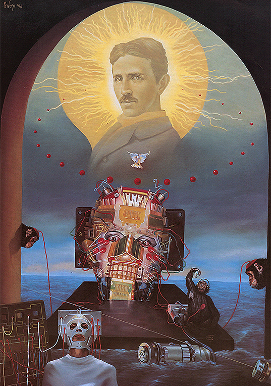 Successors of the King of Light-Nikola Tesla Di Vogo | contemporary, megic realism, hyperrealism, surrealism print for sale