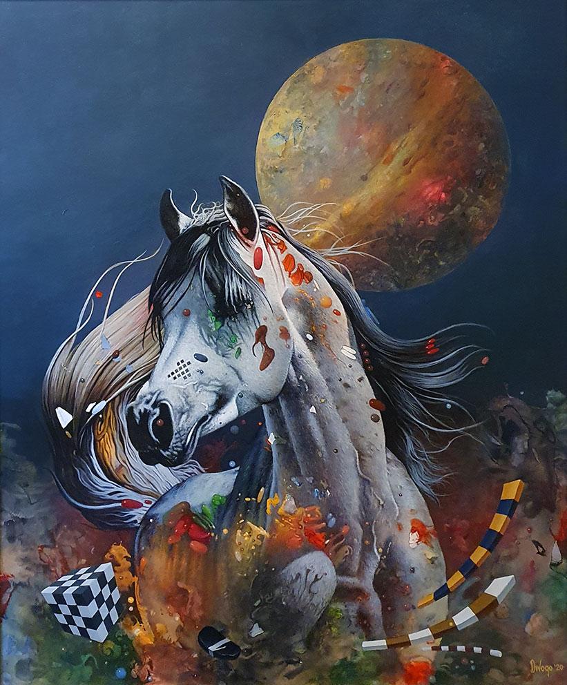 Strasni Lorenco, 65×54 cm, akril-ulje na platnu, 2020.